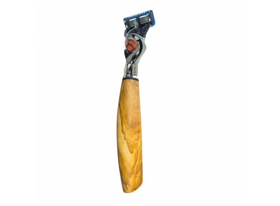 Barberkniv med håndlavet hoved i horn eller træ fremstillet i Italien - Rabio