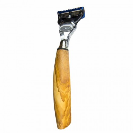 Håndlavet barberkniv i oliventræ eller horn fremstillet i Italien - Rabio