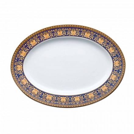 Rosenthal Versace Medusa blå oval design porcelæn fad