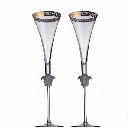 Rosenthal Versace Medusa D'Or 4 kopper fløjte i krystal design