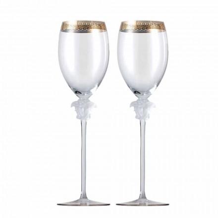 Rosenthal Versace Medusa D'Or 4 kopper hvidvin glas
