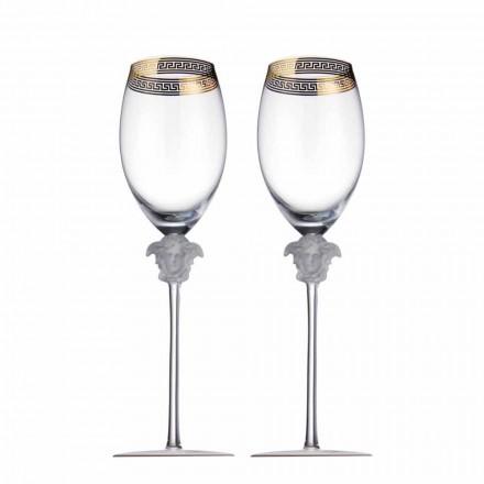 Rosenthal Versace Medusa D'Or 4 kopper rødvin glas
