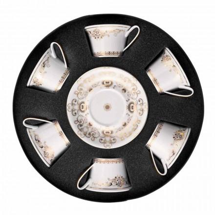 Rosenthal Versace Medusa Gala Gold sæt porcelæn te kopper 6 stk