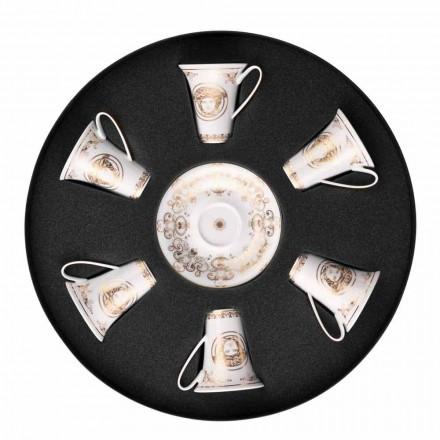 Rosenthal Versace Medusa Gala September 6 espressokopper porcelæn stykker