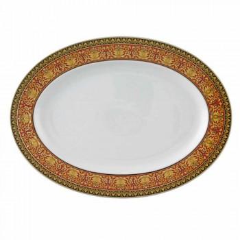 Rosenthal Versace Medusa Rød oval design porcelæn fad