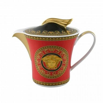 Rosenthal Versace Medusa Rød 6pax porcelæn tepotte med låg