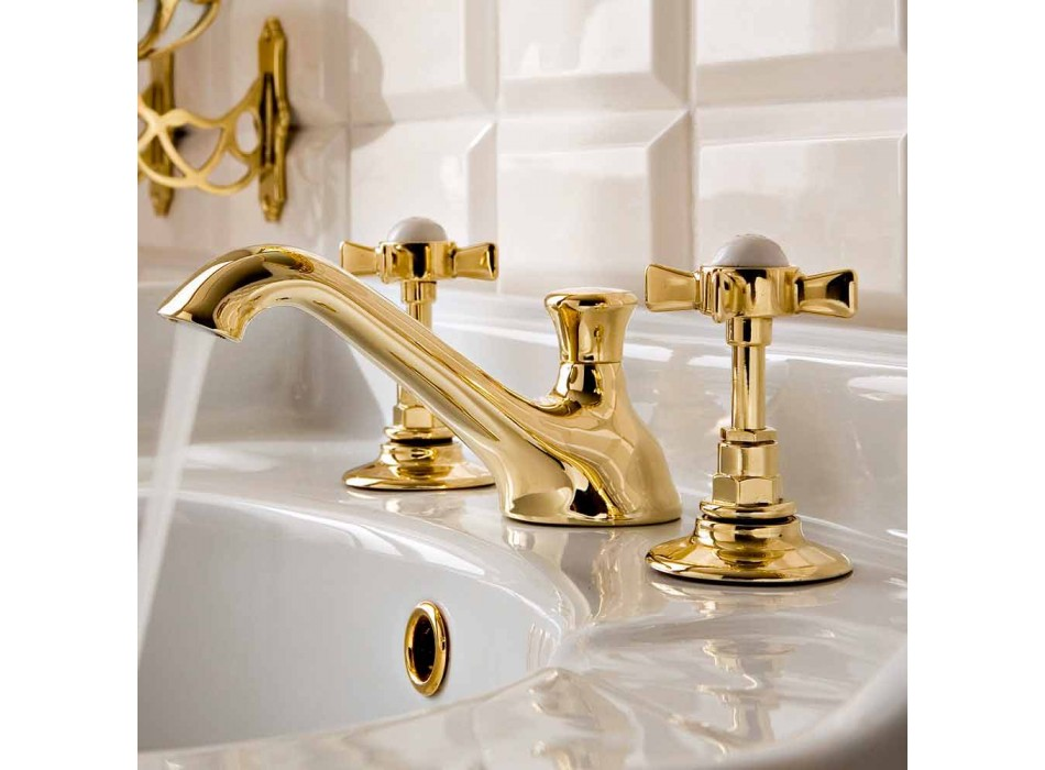 3-huls messing håndvaskarmatur, vintage stil, fremstillet i Italien - Katerina