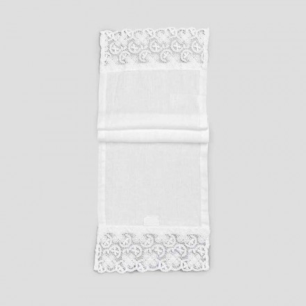 2 bordløbere 100% linned med luksuriøs hvid blonde fremstillet i Italien - Trionfo