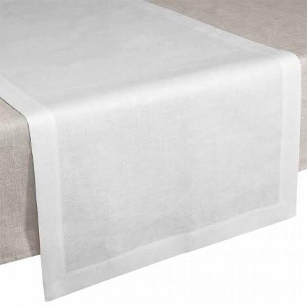 Bordløber i creme hvidt linned 50x150 cm Fremstillet i Italien - valmue