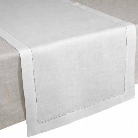 Bordløber i creme hvidt rent linned fremstillet i Italien - Chiana
