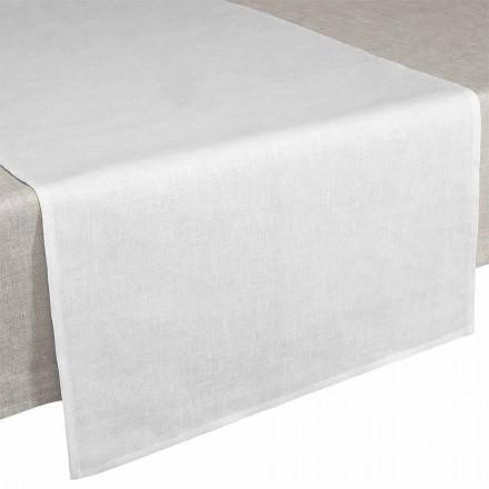 Table Runner 50x150 cm i creme hvidt rent linned fremstillet i Italien - Blessy