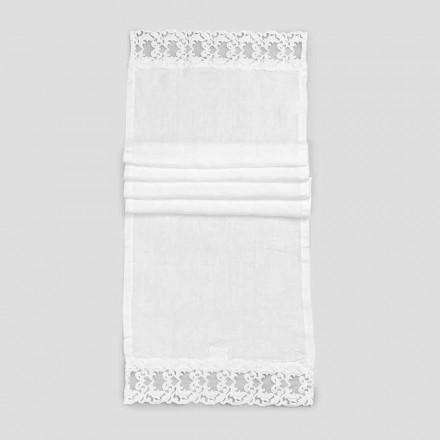 Linned bordløber med hvid blonder, italiensk luksuskvalitet - Farnese