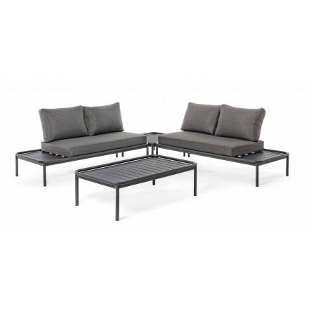 Moderne udendørs lounge i aluminium og antracit homemotion - Palmira