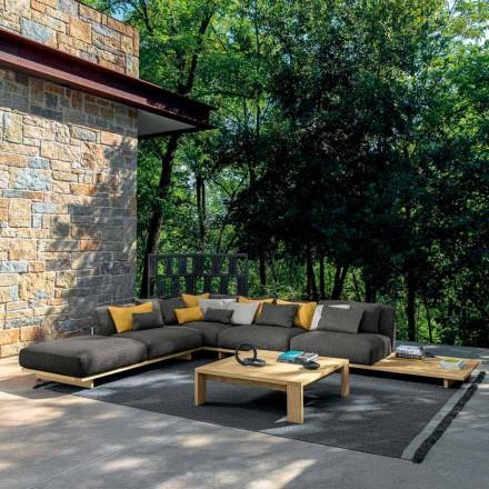 Garden Lounge med puf og sofabord i træ af høj kvalitet - Argo af Talenti
