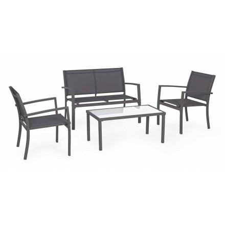 Havestue i stål og tekstil, sofa, lænestole og sofabord - Osseo