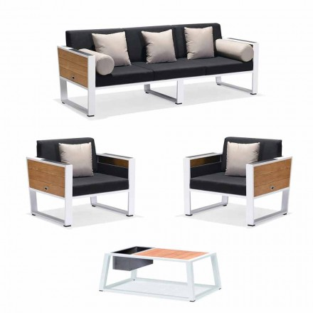Udendørs lounge 3-personers sofa, 2 lænestole og sofabord af aluminium og teaktræ - Hatice