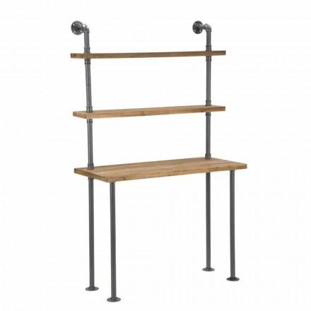 Skrivebord med industrielle designhylder i jern og træ - Aubry