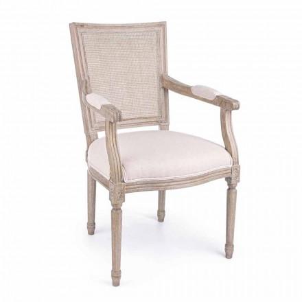 Klassisk stol med armlæn i asketræ og homemotion-stof - marengs