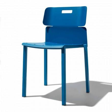 Farvet stabelbar stol til udendørs i aluminium fremstillet i Italien - Dobla
