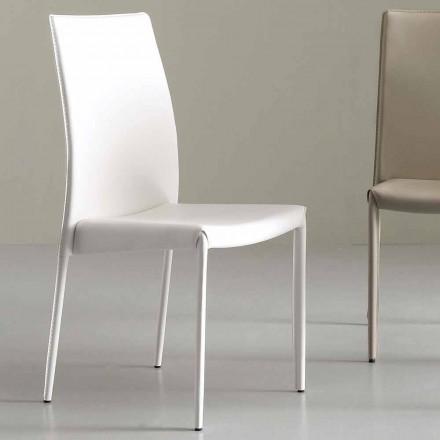Moderne stol fuldstændigt dækket af faux læder - Eloisa