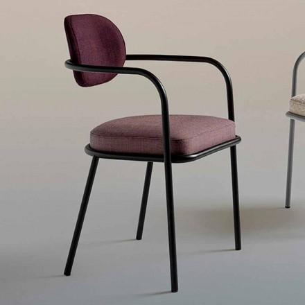 Vintage designstol med armlæn i stål og farvet stof - Ula