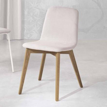 Design stol i træ og stof til køkken lavet i Italien, Egizia
