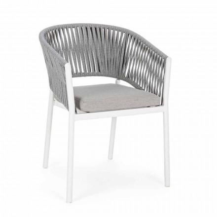 Udendørs stol med armlæn i hvid og grå aluminiumsfølelse - Rubio