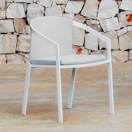Aluminium udendørs stol med eller uden pude, høj kvalitet, 4 stk - Filomena