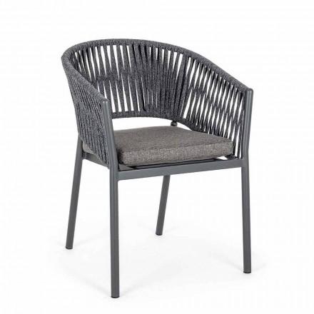 Stabelbar udendørs stol med stofsæde, Homemotion 4 stykker - Aleandro