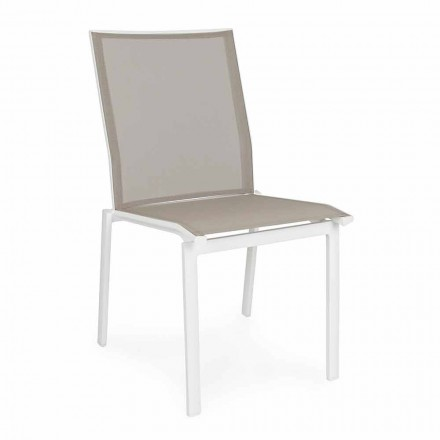 Stabelbar udendørs stol i aluminium og tekstil, Homemotion 4 stykker - Serge