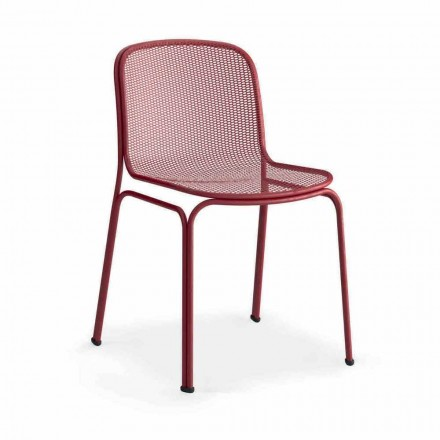 Udendørs stabelbar metalstol fremstillet i Italien, 4 stykker - Prunella