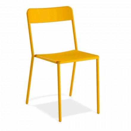 Udendørs stabelbar metalstol fremstillet i Italien, 4 stykker - Xylia