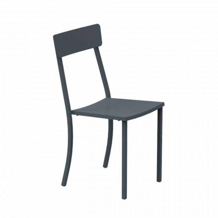 Stabelbar udendørs stol i malet metal fremstillet i Italien, 4 stykker - tyl