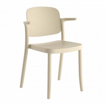 Stabelbar udendørs stol i polypropylen Fremstillet i Italien, 4 stykker - Bertina
