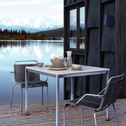 Udendørs stol i stål med armlæn og snor fremstillet i Italien - Madagaskar2