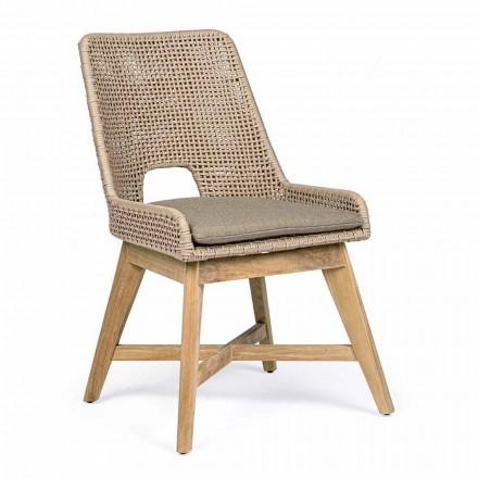 Udendørs stol i reb og stof med teakbase, Homemotion 2 stykker - Lesya