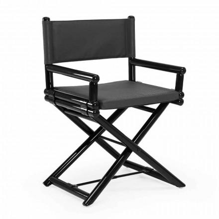 Udendørs stol i naturligt træ eller sort og genlukkeligt designstof - Suzana