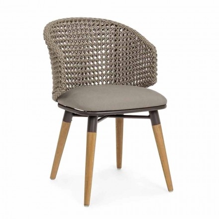 Tortora udendørs stol i træ, aluminium og hjemmefølelsesstof - Luana