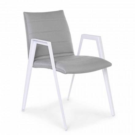 Moderne havestol med armlæn i hvid aluminiumsfølelse - Liliana