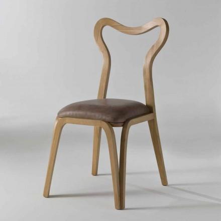 træ og læder spisestuestol moderne design, l.41xp.46 cm, Carol