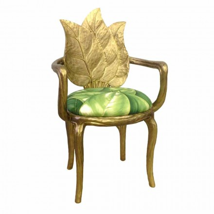 Stol polstret frokost moderne design guld, fremstillet i Italien, Daniel