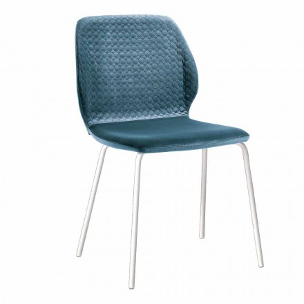 Elegant moderne design stue stol i farvet fløjl 4 stykker - Scarat