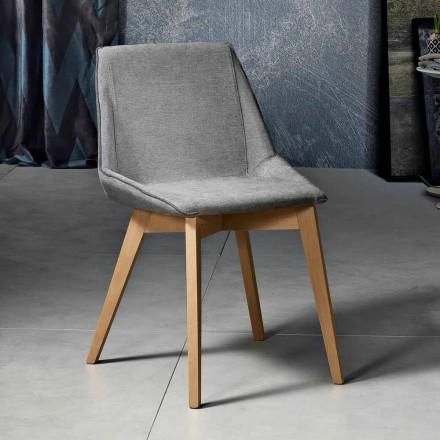Moderne stol i stof og træ til stuen lavet i Italien, Oriella