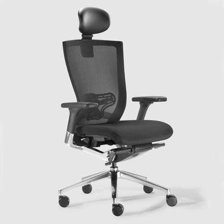Ergonomisk kontorstol med stof og faux læderhjul - Takeshi