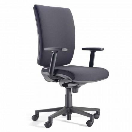 Ergonomisk drejelig kontorstol med armlæn i sort stof - Macrino