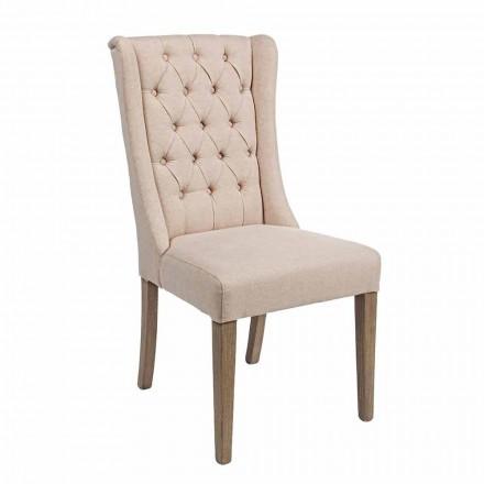Klassisk designstol i stof og egetræ 2 stykker Homemotion - Forla