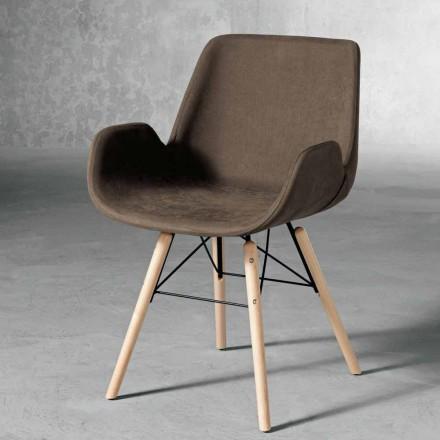 Design stol i træ og stof lavet i Italien Ornica