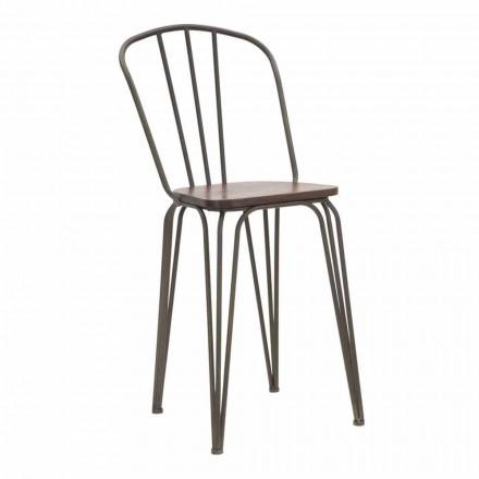 Stol i moderne design i industriel stil i jern og træ, 2 stykker - Erika