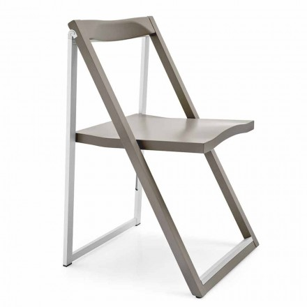 Foldet designstol i aluminium og bøg træ lavet i Italien, 2 stykker Spring over
