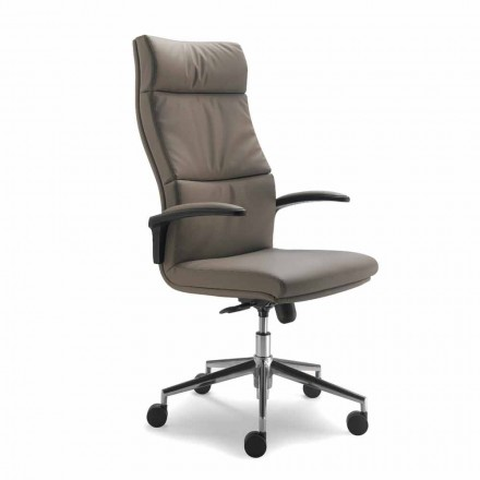 Moderne Edda Executive stol i læder, fremstillet i Italien